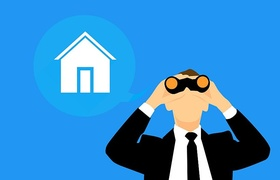 Grafik Haus im Hintergrund Mann mit Fernglas