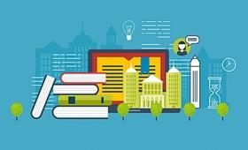 Grafik mit Büchern Tablet und angedeuteter Skyline im Hintergrund