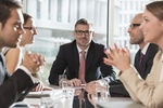 12 Sep 2013, Warsaw, Poland --- Poland, Warzawa, meeting of five businessmen at conference room ---
