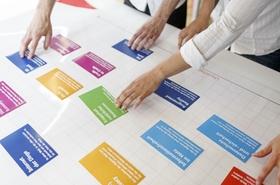 Hände schieben gemeinsam verschiedene Karten auf Pinnwand zusammen