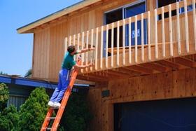 Handwerker auf Leiter