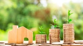 Haus aus Holz gesägt, Geldtürme aus Münzen, grüne Pflanzen
