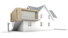 Haus mit Aufbau Anbau Zeichnung Architektur
