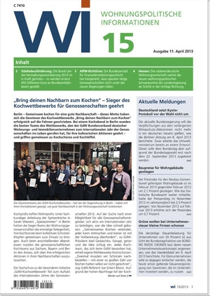 Wohnungspolitische Information Ausgabe 15/2013   Wohnungspolitische Information