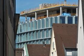 Der Neubau der Sparkasse auf dem ehemaligen  Bakola-Gelände, Bakola Baustelle, Fahnenbergplatz, Pete