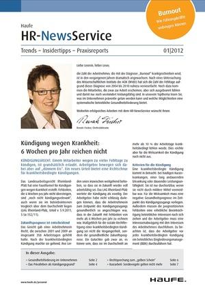 HR Newsservice Ausgabe 1/2012   HR Newsservice