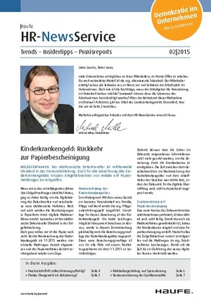 HR News Service Ausgabe Februar 2015 | HR Newsservice