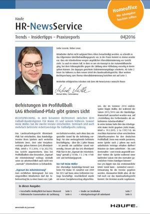 HR News Service Ausgabe April 2016 | HR Newsservice