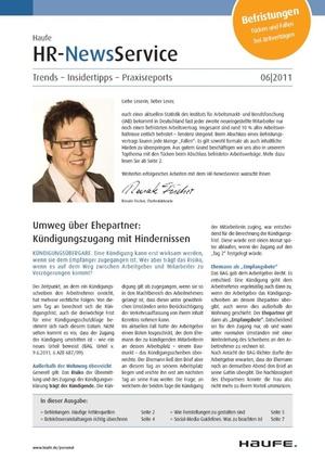 HR Newsservice Ausgabe 6/2011   HR Newsservice