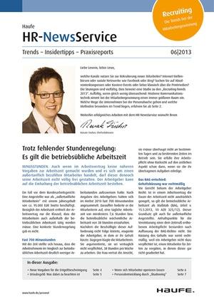 HR Newsservice Ausgabe 6/2013   HR Newsservice