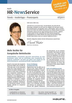 HR Newsservice Ausgabe 7/2011 | HR Newsservice