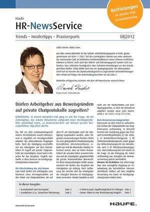 HR Newsservice Ausgabe 8/2012 | HR Newsservice