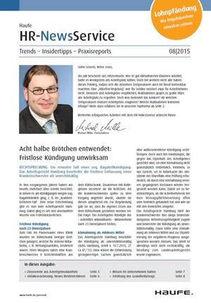 HR News Service Ausgabe August 2015 | HR Newsservice
