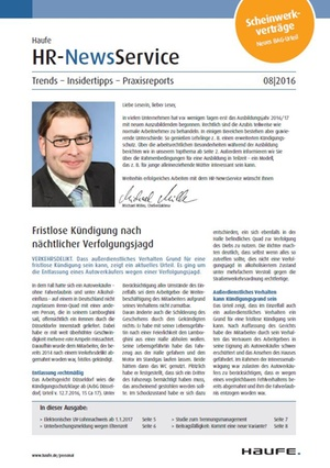 HR News Service Ausgabe 8/2016 | HR Newsservice