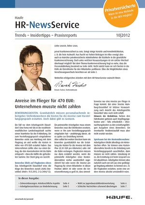 HR Newsservice Ausgabe 10/2012 | HR Newsservice