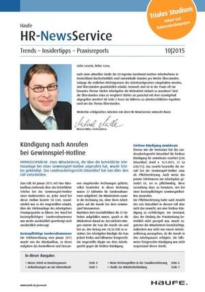 HR News Service Ausgabe Oktober 2015 | HR Newsservice