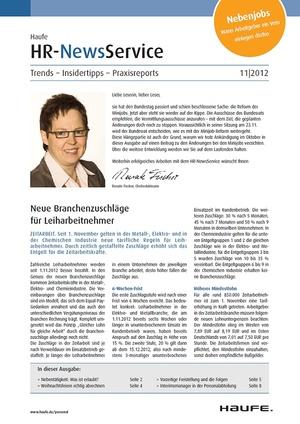 HR Newsservice Ausgabe 11/2012 | HR Newsservice