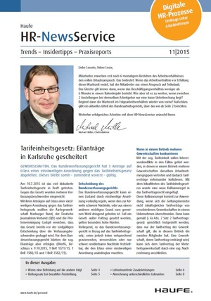 HR News Service Ausgabe November 2015 | HR Newsservice