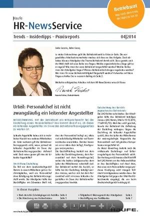 HR News Service Ausgabe 04/2014 | HR Newsservice