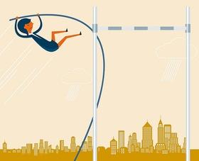 Illustration: Frau nimmt Hürde vor Skyline