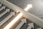 Glowing arrow breaking through wall on concrete background. Breakthrough and success concept. 3D Ren