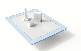 iPad, Tablet mit Gebäudenmodellen in 3D