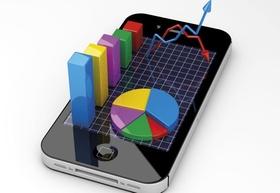 IPhone mit Diagrammen und Kurven