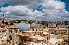View of the old city and Church of the Holy Sepulchre from the tower of the Church of the Redeemer.