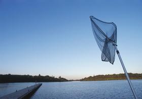 Kaescher zum Angeln an See