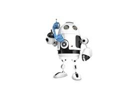 Kleiner Roboter mit Telefonhörer in der Hand