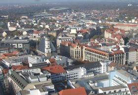 Leipzig Innenstadt von oben