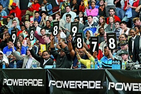 CHICAGO, IL - APRIL 1: Judges display their scores during the 2013 McDonald's All American Games Pow