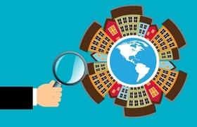 Lupe Häuser Weltkarte