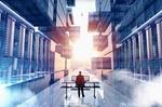 Mann an Databoard in einer Wolke neben mehreren Servern