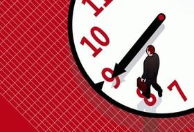 Mann läuft auf Uhr