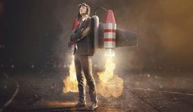 Mann mit Rakete auf dem Rücken Turbo