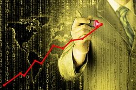 Mann zeichnet Aktienkurve