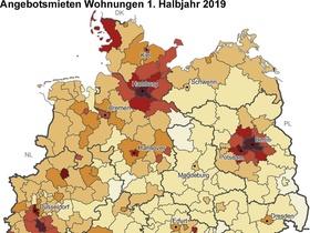 Mieten in Deutschland Q1 2019 Karte