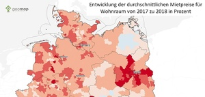 Geomap-Analyse: Mieten steigen in fast ganz Deutschland