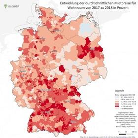 Mietpreisentwicklung Deutschland 2017 bis 2018