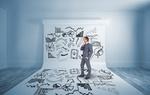 Nachdenklicher Geschäftsmann steht auf Leinwand mit Zeichnungen