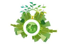 Nachhaltige grüne Gebäude um den Globus drapiert