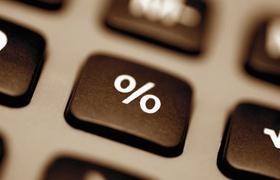 Nahaufnahme Tastatur Symbol für Prozent