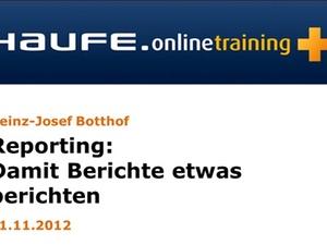 """In eigener Sache: Online-Seminar """"Reporting: Damit Berichte etwas"""