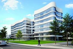 Panta Rhei Bürogebäude in Farbe