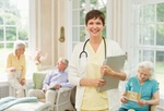 USA, New York State, Old Westbury, Nurse and senior people in nursing home