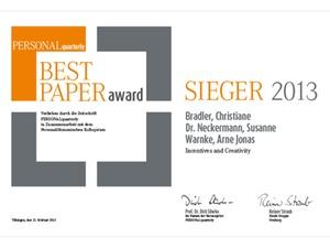 PERSONALquarterly - Preisverleihung des Best Paper Awards 2013