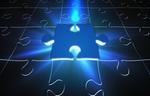 Puzzle mit einem leuchtend hervorgehobenen Puzzleteil
