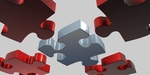Puzzleteile rot silber 3D