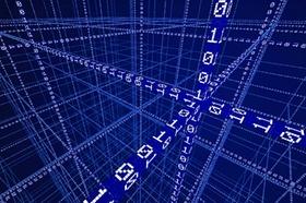 Raster aus Binärzahlen, Nullen und Einsen, Datenstrom